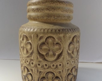 vintage west german art pottery vase 1970s brown stylised flowers 289-15