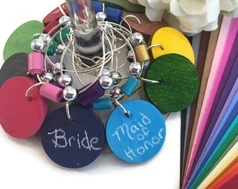 Bachelorette Party Favors, Bachelorette Party Wine Charm Favors, CUSTOM COLOR Chalkboard Wine Glass Charms With Colored Paper Beads