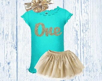 Glitter Birthday Outfit - Gold Birthday Outfit - Mint and Gold Birthday Tutu