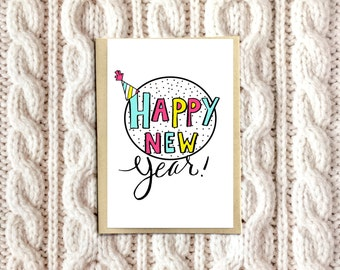 Happy New Year Card, New Years Card, 2017 Card, Colorful New Year Card
