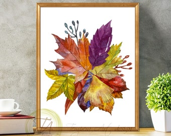 Watercolor Leaf, Maple Leaf, Leafs Illustration, Leaves Art, Fall Leaves, Leaf Poster, Leaves Art Print, Fall Leaves Art, Wall Art Prints