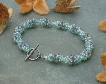Wood Pigeon Bracelet, Grey and Blue Green Beaded Bracelet, in blue green, aqua and slate grey Czech seed beads, UK seller