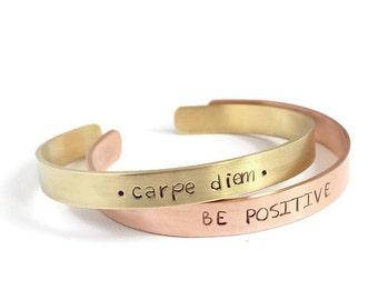 Personalized cuff bracelet, inspirational cuff bracelet, handstamped bracelet, custom bracelet, stacking bracelet, quote bracelet, copper