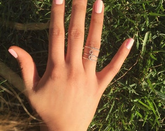 Infinity Ring Set, Silver Infinity Ring, Vertical Infinity Ring Set, Sideways Infinity, Ring, Trendy Ring, Infinity Ring - Silver