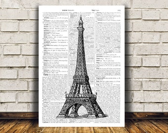Retro print Eiffel tower poster Modern decor French art RTA209