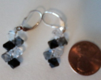 Black Grey and White earrings sterling silver lobster clasps and wire