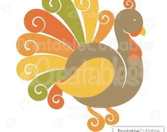 Fancy Swirls Thanksgiving Turkey SVG Cutting File & Clipart - Includes Limited Commercial Use!