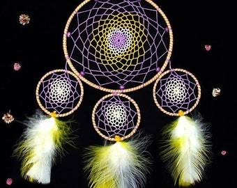 Decorative dreamcatcher yellow and lilac