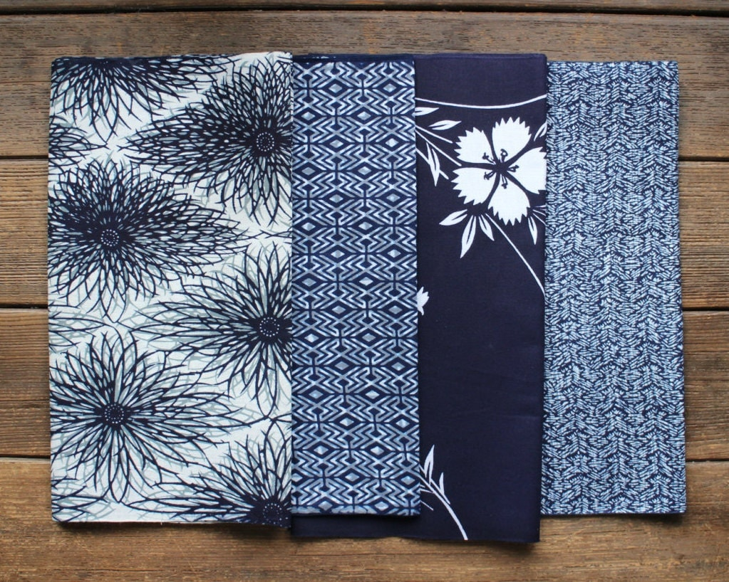Japanese Cotton Yukata Fabric Pack Vintage Blue and White