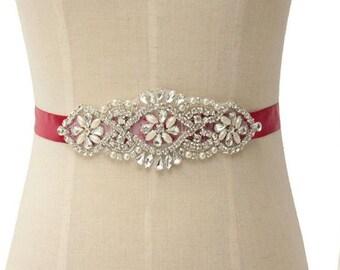 Wedding Belt Applique, Crystals and Pearl Wedding Belt Sash, Bridal Sash Belt, Ivory Wedding Belt, White Wedding Sash Belt