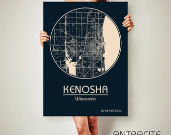 KENOSHA Wisconsin CANVAS Map Kenosha Wisconsin Poster City Map Kenosha Wisconsin Art Print Kenosha Wisconsin poster Kenosha Wisconsin