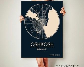 OSHKOSH Wisconsin CANVAS Map Oshkosh Wisconsin Poster City Map Oshkosh Wisconsin Art Print Oshkosh Wisconsin poster Oshkosh Wisconsin map