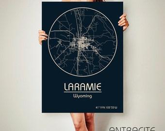 LARAMIE Wyoming CANVAS Map Laramie Wyoming Poster City Map Laramie Wyoming Art Print Laramie Wyoming poster Laramie Wyoming map