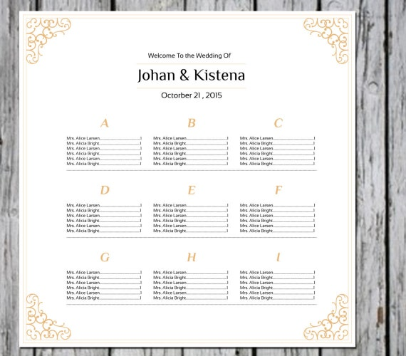 items similar to sale wedding seating chart poster template gold seating chart editable ms. Black Bedroom Furniture Sets. Home Design Ideas