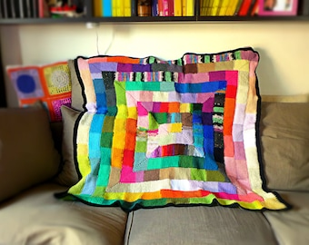 Art deco blanket crochet Klimt Mondrian weighted blanket throw contemporary sofa throw afghan ten stitch Tunisian crochet READY TO SHIP