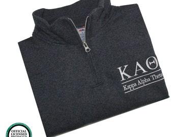 Kappa Alpha Theta Quarter Zip Pullover,  Kappa Alpha Theta cadet sweatshirt pullover, Sorority Letters, Greek Apparel, Sorority Clothing