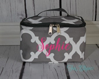 Gray Quatrefoil Cosmetic Bag - Personalized or Monogrammed