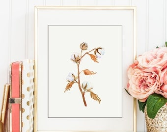 Watercolor painting of cotton bolls branch printable, instant download, wall art
