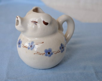 Pig Creamer Decorated with Baby Blue Flowers - Vintage