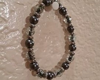 Dark Gray and Clear Shimmer Bracelet