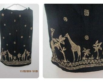 Giraffe Safari Inspired Bohemian Tribal Skirt Black skirt with slit Boho Chic
