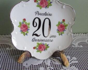 VINTAGE plate 20 th anniversary / Mid-Century Plate 20th anniversary / VTG Collection 20 th anniversary