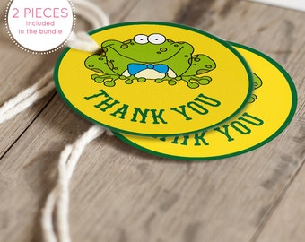 Instant Download Frog Thank You Tags, Green Frog Gift Tags, Green Yellow Gender Neutral Frog Birthday Party or Baby Shower Favor Tags