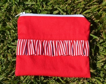 Zipper Pouch Coin Purse Black with Red Spot Ruffle Ready to Ship