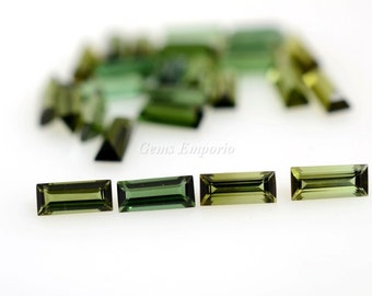 Natural Green Tourmaline Baguettes. Size 6x2.5 mm. Fine Quality Gems for Earrings, Rings and Pendants. Price per piece.