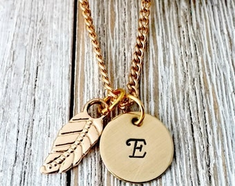 Personalized, Hand Stamped, Initial Necklace, Gold, Leaf