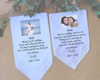 Parents of the Bride Gifts handkerchief with PHOTO, Father of the Bride wedding hankie, wedding favor, Custom. WHITE MS2LS4FMON
