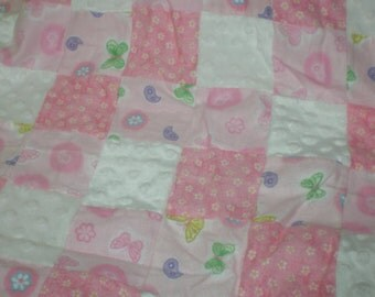 Baby Girl Pink Quilt with Minky Handmade