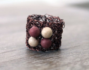 Copper wire crochet ring, statement woven ring, woven antique copper wire, cream and pink natural stone beads