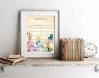 Alice in Wonderland Disney Sheet Music Art Print