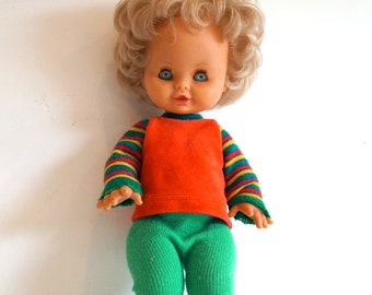 Vintage doll. Doll from 70 s. Children's room decor, Toys. Gift for Girl. Doll with blonde hair and moveable arms and legs. Bright clothes