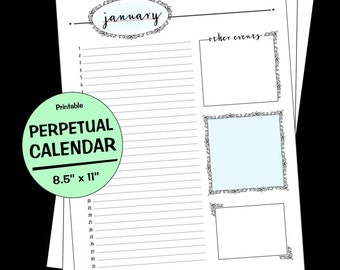 Perpetual Birthday Calendar, Letter Size, Multiple Colors, Instant Download, Printable Perpetual Calendar, Monthly Calendar, Printable PDF