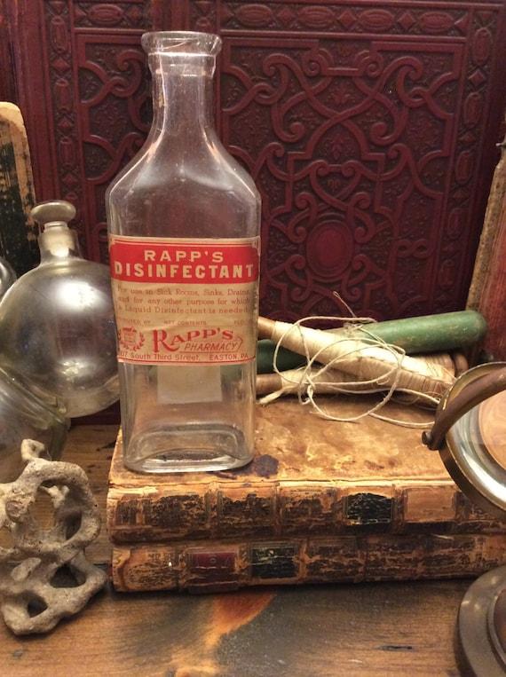 Poison Bottle, Rapp's Disinfectant,  Glass Medicine Bottle, Apothecary, Pharmacy (0055)