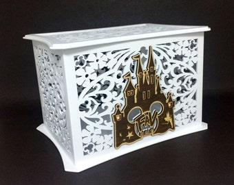 disney card box etsy Wedding Card Box Disney disney theme wedding card box, memory box, disney castle, walt disney world, wedding card box disney
