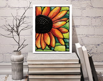 Red Sunflower Print - floral wall hanging - acrylic flower print - abstract sunflower art - 8 x 10 inch - Signed by Artist Kathy Lycka