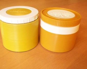 Pair of Vintage Thermos insulated jars - 1970s Harvest Gold - Model #1155/3 and Mustard color - Model #1155