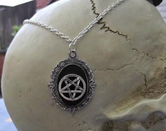 Satan's Child Inverted Pentagram Cameo Silver