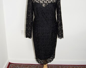 Black Long Sleeved Embroidered Dress