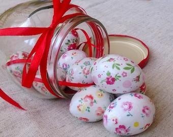 Wooden Easter eggs set of ten (mini) decoupage technique tender rustic style coloration