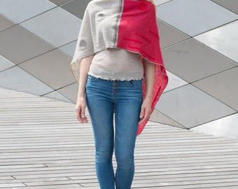 LINEN SHAWL- WRAPS (Poncho)  Knitted  and Decorated with Dots. Handmade Natural Linen Color Natural linen color & Red
