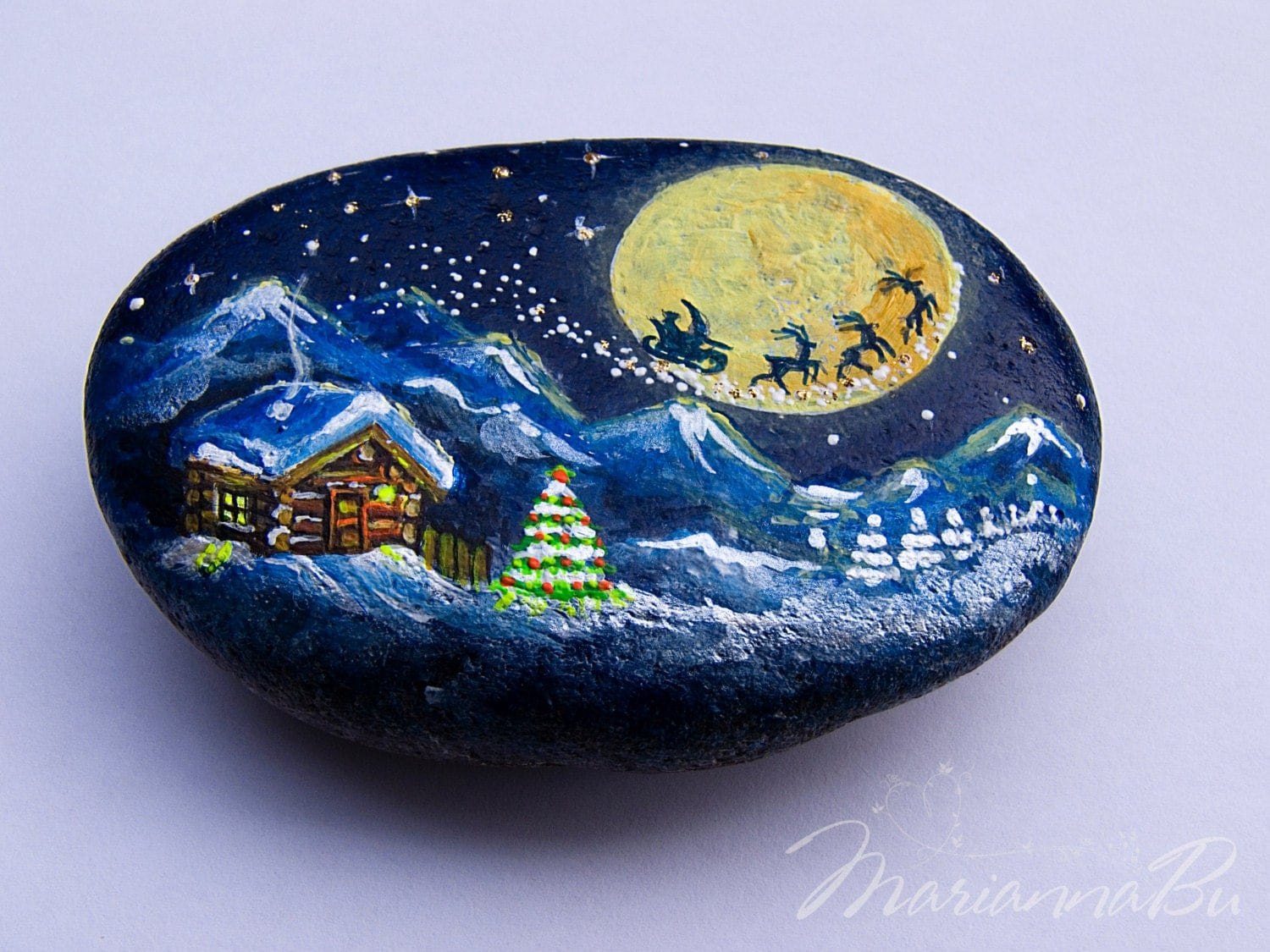 Hand painted christmas ornaments house ornament
