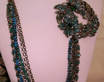 Necklace Multi-chain Rhinestone Brooch Blue and Teal Butterfly