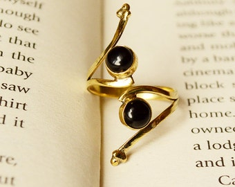 Adjustable two stone delicate tribal ring, choice of stone.