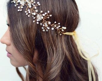 The Ashton - Gold Twined Pearl Crystal Encrusted Bridal Veil Headband Wreath Gold Ribbon Crown Wedding Bride Crystals Boho gilded leaf