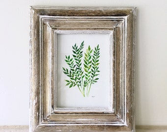 "Original Leafy Greens Watercolor - 5x7"" - FREE SHIPPING"