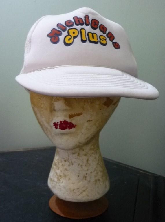 Michigan's Plus Snapback / 1980s White Michigans Plus Baseball Cap / One Size Fits Most / Adjustable Trucker Hat